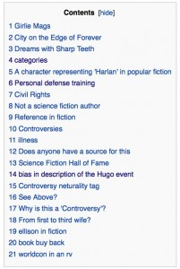 index of Harlan Ellison Talk page on Wikipedia, June 17, 2013